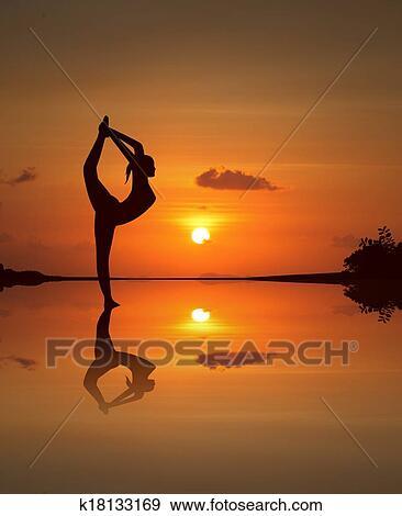 Yoga On Mirrored Sunset Beach