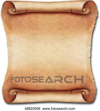 Square brown blank Ancient Scroll with curved corners ...