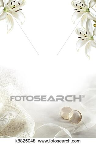 Stock Illustration Weisse Hochzeit Gruss Leer Mit Zwei Gold