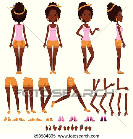 clipart of afro american young woman character creation set girl