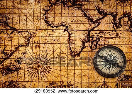 landkarte alt Stock Foto   alt, altmodisch, kompaß, auf, uralt, landkarte  landkarte alt