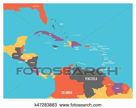 Clipart of Central America and Carribean states political map with ...