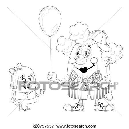 Stock Illustraties Circus Clown Met Balloon En Meisje Omtrek