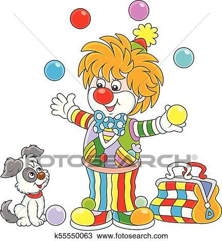 Clown Cirque Jonglerie à Couleur Balles Clipart