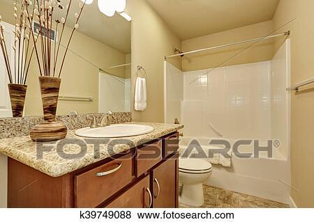 Elegante, cuarto de baño, con, un, nicho, tina, y, beige, walls. Colección  de foto