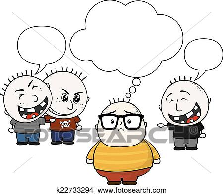 Clipart Of Fat Kid And Bullies K22733294