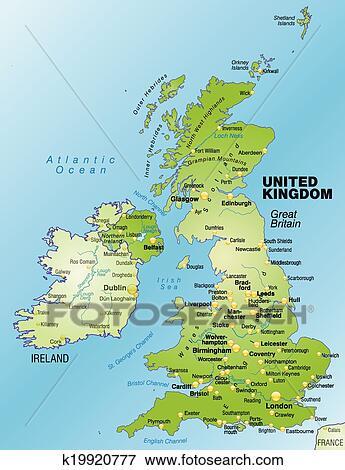 Landkarte Von England Clip Art K19920777 Fotosearch