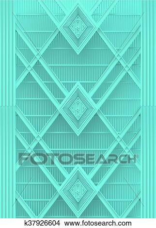 Drawings of light blue plastic wall art deco background render ...