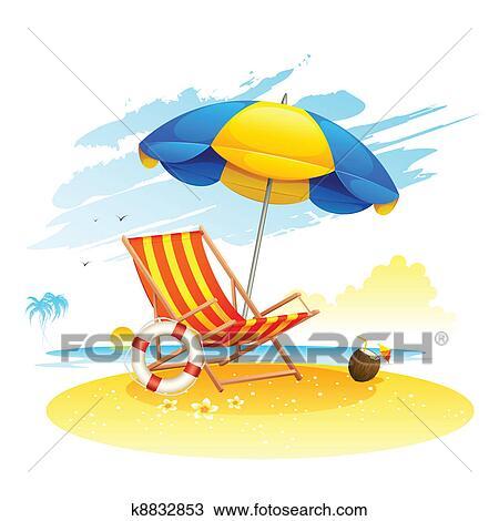 Clipart recliner su mare spiaggia k8832853 cerca for Clipart mare