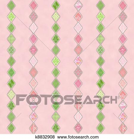 Pink And Green Diamond Stripes On Pale Background