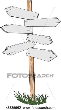 Illustration Of A Sign Post Pointing Different Directions For Locations And Miles To Go