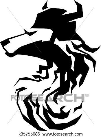 Clip Art Of Wolf Head Tribal Art Tattoo Emblem K35755686 Search