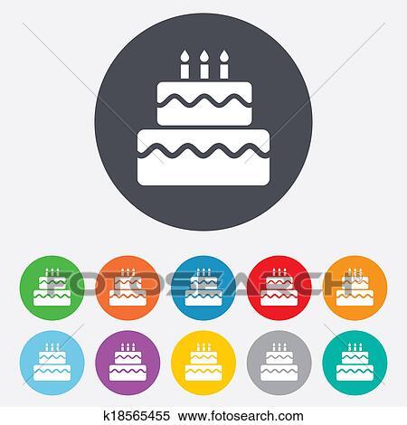 Stock Illustration Of Birthday Cake Sign Icon Burning Candles