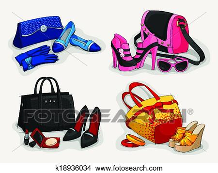 Collection Of Women Bags Shoes And Accessories Clipart K18936034