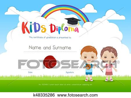 clip art of colorful kids summer camp diploma certificate template