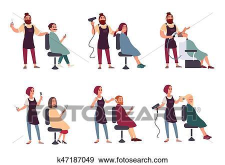 Ensemble De Different Hairdresser Branche Homme Femme Dans Salon Coiffure Coiffure Salon Services Marques Styling Dries Lave Coupures Cheveux Et Moustache Collection Vecteur Illustration Dans Plat Style Clipart K47187049