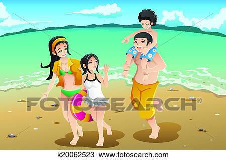 A Vector Illustration Of Happy Family Going To The Beach