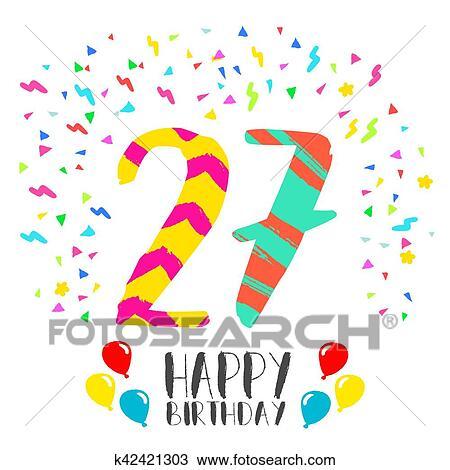 Gelukkige Verjaardag Voor 27 Jaar Feestje Uitnodigingskaart