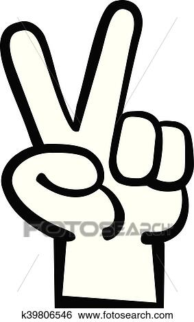 Clip Art Of Hand Peace Sign Cartoon K39806546 Search Clipart