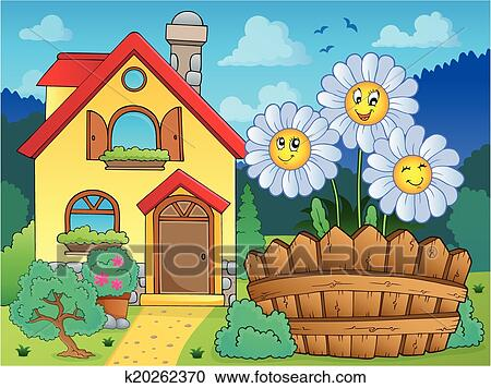 Clipart of House and flowers 3 k20262370 - Search Clip Art ...