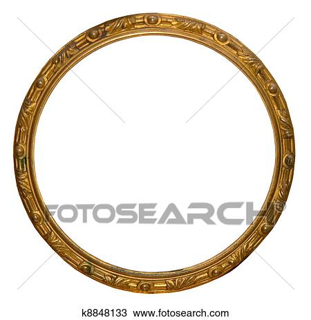 025554cec864 Stock Photo of Isolated empty round golden handmade frame k8848133 ...