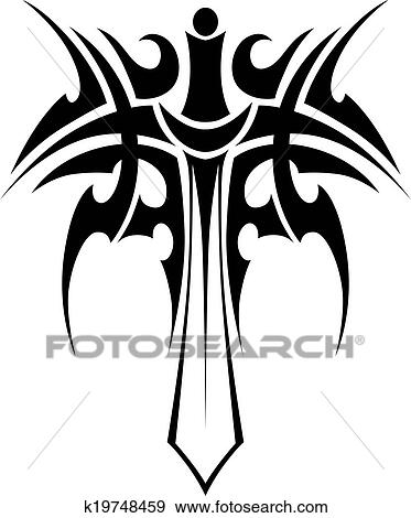 Clip Art of Tribal tattoo with sword k19748459 - Search Clipart ...