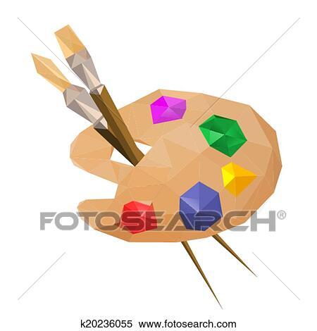 Clipart - Illustration, De, Géométrique, Polygonal, Peinture