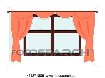 Clipart fen tre rideaux rouges k41871806 - Fenetre grand format ...