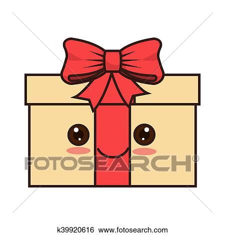 Kawaii Dessin Animé Boîte Cadeau Clipart