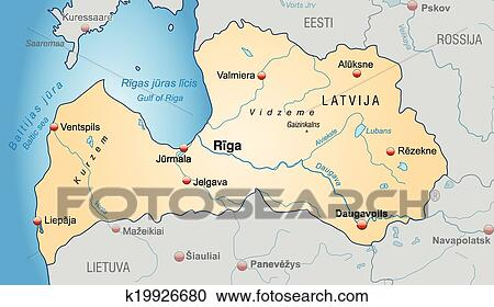 Clipart of Map of Latvia k19926680 - Search Clip Art, Illustration ...