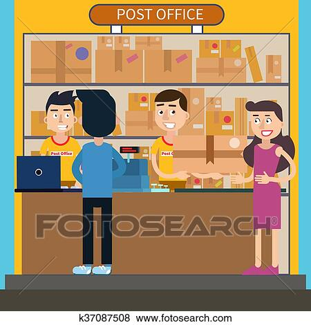 Clip art of post office woman receiving parcel postal service man sending letter vector - Post office parcel service ...