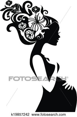 Pregnant Beautiful Woman Silhouette With Floral Hair Clipart K19857242