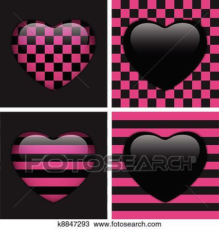 Set Di Quattro Lucido Emo Hearts Rosa E Nero Scacchi E