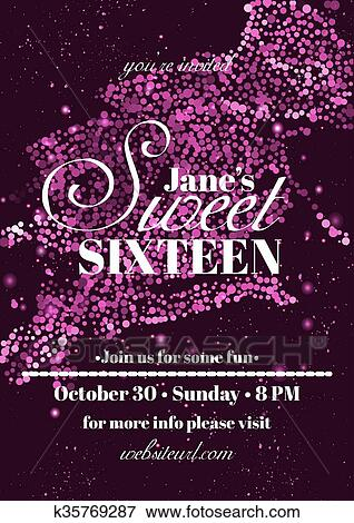 clip art of sweet sixteen glitter party invitation flyer template