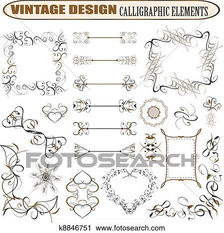Vettore, decorativo, ornare, disegni elementi, \u0026, calligraphic, pagina,  decorazioni