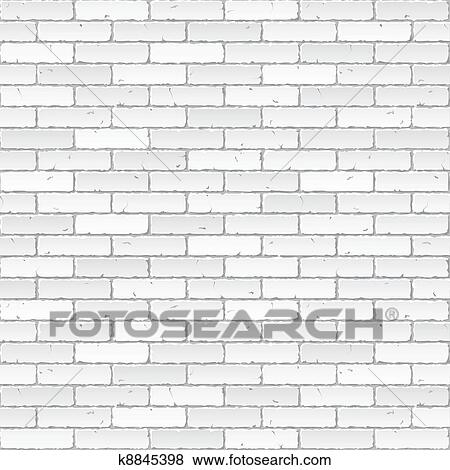 Clip Art Of White Brick Wall K8845398