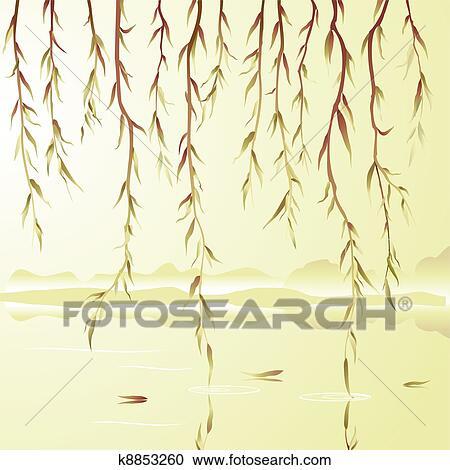 枝垂れ柳 クリップアート切り張りイラスト絵画集 K8853260