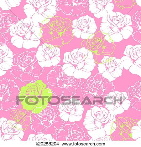 Clipart Azulejo Rosa Floral Vector Patron K20258204 Buscar - Azulejos-rosas