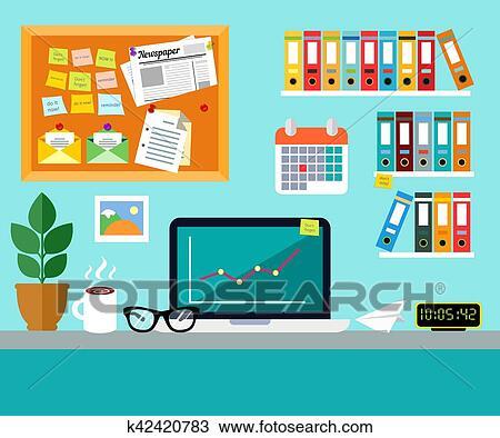 Clipart Buro Arbeitsplatz Design Begriff K42420783 Suche Clip