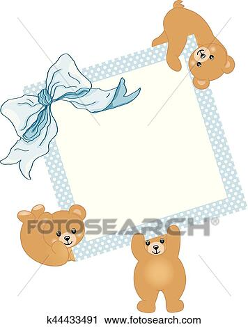 Clipart Of Baby Teddy Bears Holding Blue Frame And Ribbon K44433491