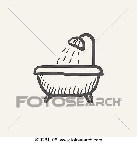 Dusche clipart  Clipart - badewanne, mit, dusche, skizze, symbol k29281105 - Suche ...