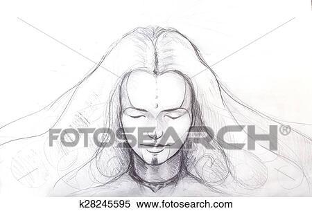 Stock Illustration Bleistift Zeichnen Von Schon Meditation