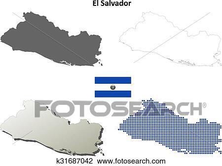 El Salvador outline map set Clipart   k31687042   Fotosearch