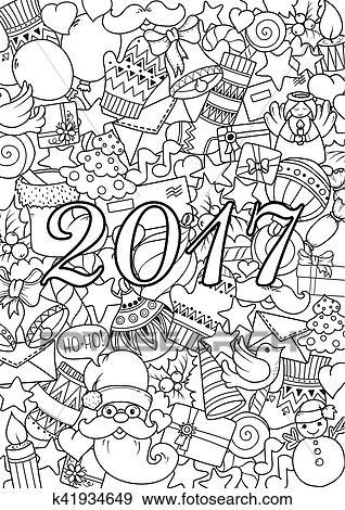 Clip Art - feliz navidad, conjunto, de, navidad, monocromo, patrón ...