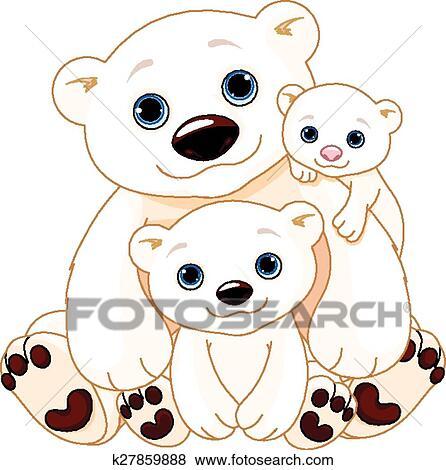 Grande orso polare famiglia clip art k27859888 for Disegno orso per bambini