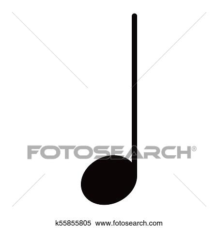 Isolated quarter note  Musical note Clipart