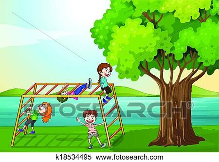 Kids Climbing Near The Tree Clipart K18534495 Fotosearch