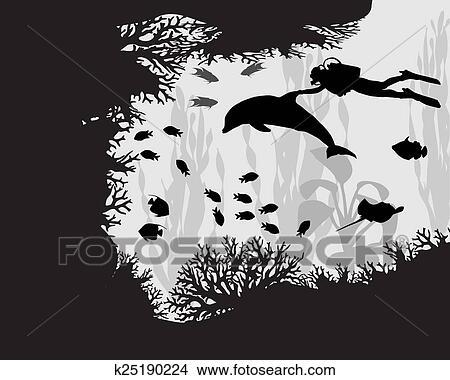 Dessins plongeur dans r cif corail k25190224 recherche de clip arts d 39 illustrations et d - Dessin plongeur ...