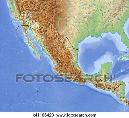Relief Map Of The World.Stock Photography Of Relief Map Of Mexico 3d Rendering K41186420