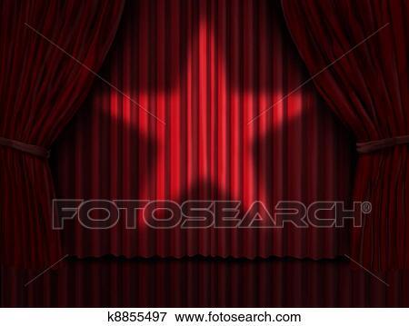 Beeld - rode gordijnen, ster k8855497 - Zoek Stock Fotografie ...